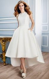 Jewel-Neck Sleeveless Satin Wedding Dress With Appliques And Keyhole