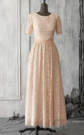 Lace Keyhole Long Short-Sleeve Scoop-Neckline Pleated Dress