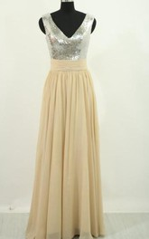 V-neck Chiffon Sequins Sleeveless Floor-length Beading Pleats Ruching Dress