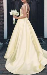 A Line Sleeveless Satin Sexy Backless Deep-V Back Prom Dress with Ruffles