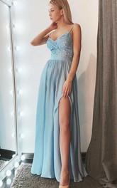 Spaghetti Chiffon Sleeveless Floor-length A Line Formal Dress with Lace