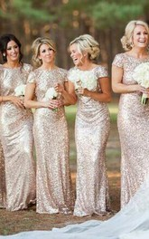 Glamorous Bateau Cap Sleeve Bridesmaid Dress With Sequins