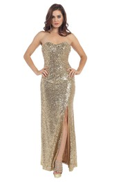 glam Sweetheart Sequined Split Front Prom Dress