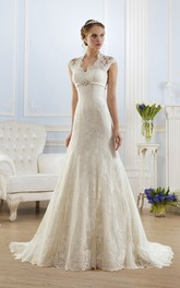 Cap-Sleeve Appliqued Floor-Length A-Line Lace Gown