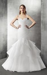 Sweetheart Mermaid Organza Wedding Dress With Cascading Ruffles