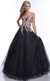 Sweetheart Beaded Waistline Lace Appliqued Strapless Sleeveless Formal Tulle Dress