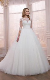 Princess Appliqued Tulle Half-Sleeve Ball-Gown Dress