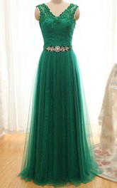 A-line Floor-length Straps V-neck Sleeveless Tulle Dress