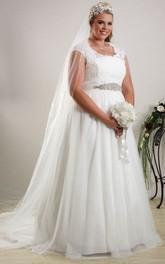 V-neck Cap-sleeve Tulle Appliqued plus size wedding dress With Beading