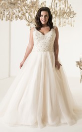 Sleeveless Illusion Long A-Line Pleated Court-Train Gown