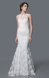 Jewel-Neck Sleeveless Mermaid Wedding Dress With Appliques And Court Train