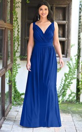 A Line Chiffon V-neck Floor-length Bridesmaid Dress With Ruching