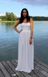 Sleeveless Long Sweetheart Column Chiffon Dress