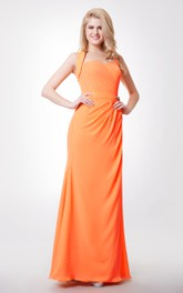 Back Knot Removable Straps Trumpet Side-Draped Gown