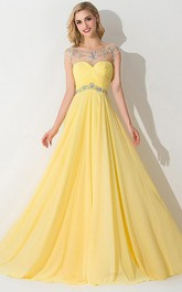 Bateau-Neck Brush-Train Princess A-Line Ruched Dress