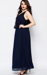 Ankle-Length Sleeveless V-Neck Lace Chiffon Bridesmaid Dress