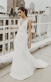 Mermaid V-neck Sexy Satin Wedding Gown With Train And Deep V-back