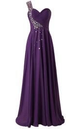 Sleeveless Jewels Sweetheart Single-Shoulder Chiffon Dress