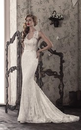Floral Illusion Lace-Up Back Wedding Lace Gown