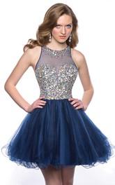Tulle Sleeveless Jewel Neck Homecoming Dress With Polychrome Bodice