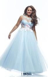 A-line Floor-length Bateau Sleeveless Tulle Appliques Pleats Illusion Dress