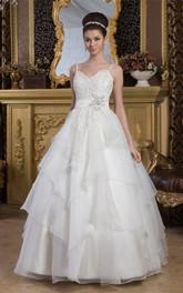 Princess Rhinestone Spaghetti-Straps A-Line Lace Ball Gown