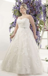 Strapless A-line Appliqued Ball Gown With Jeweled Waist And Court Train