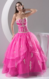 Sweetheart Ruched-Bodice Appliqued Strapless Pleated Ball Gown