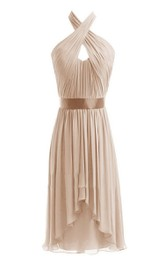 Chiffon Crisscross Neckline Short Sleeveless Dress