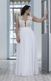 Jewel Chiffon Lace  Sleeveless Wedding Gown