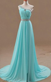 Chiffon Ruched Beading Floor-Length One-Shoulder Dress