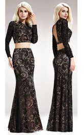 2-Piece Keyhole Trumpet Floor-Length Long-Sleeve Scoop-Neck Lace Dress