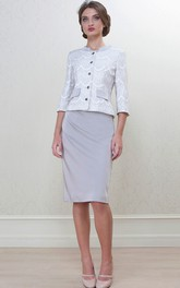 Caped Short-Midi Pencil Satin Mother Of The Bride