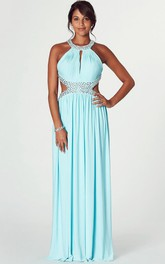 jeweled Sleeveless Chiffon long Prom Dress With Pleats