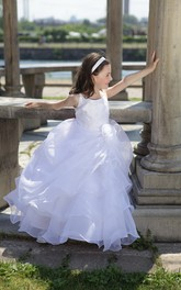 Floral Layered Skirt Organza Bateau-Neckline Flower Girl Dress