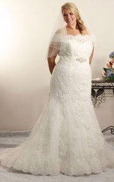 Off-the-shoulder Lace Mermaid plus size Wedding Dress With Embellished Waist