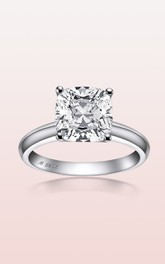 Solitaire Cut Four-Prong Princess Setting Engagement Rings