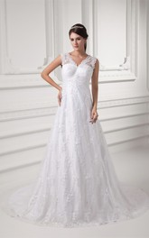A-Line Low-V Back Lace Caped-Sleeve Sleeveless Gown