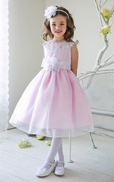 Jeweled Layers 3-4-Length Slit-Front Sequined Flower Girl Dress
