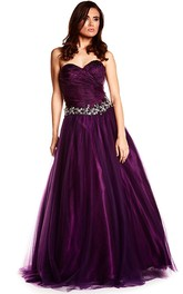 Sweetheart Criss cross Tulle Prom Dress With Corset Back And Embellished Waist