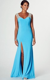 Plunged Sleeveless Jersey Front-split Prom Dress With Beading And Illusion