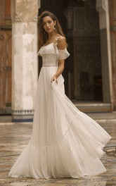 Adorable Off-the-shoulder Tulle Wedding Dress With Lace Details And Spaghetti Straps