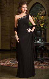 One-shoulder Sleeveless Chiffon Dress With Beading And side draping