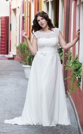 Cap Bow Floor-Length A-Line Sweep-Train Lace Gown