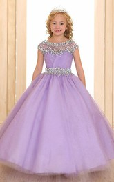 Pleated Sash Illusion Long Organza Flower Girl Dress