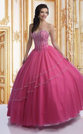 Tulle Asymmetrical Beaded Lines Sweetheart Strapless Ball Gown