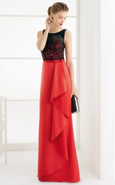 Two-tone Sleeveless Sheath Dress With Beading And Lace top