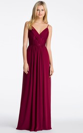 Spaghetti V-neck Sleeveless Chiffon Bridesmaid Dress With Pleats