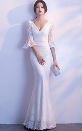 Sexy 3/4 Poet Sleeve Mermaid Bridal Gown With Deep V-neck And Straps Back