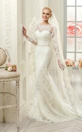 Long-Sleeve Appliqued Waist Jewellery Floor-Length Sheath Lace Dress